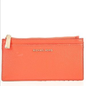 Michael Kors Leather Slim Card Case Coral New